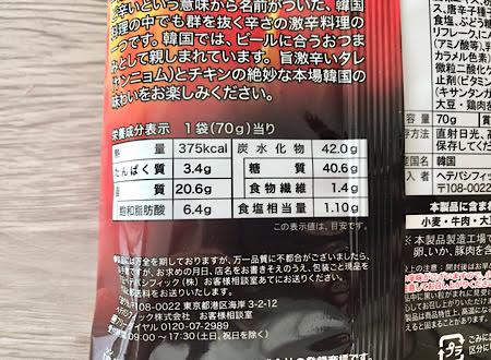 トッポッキの栄養成分